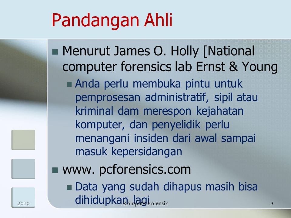 Pandangan Ahli Menurut James O. Holly [National computer forensics lab Ernst & Young.